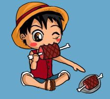 Luffy and his Meat by IcyPanther1
