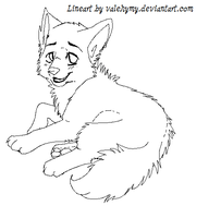 Free wolf lineart 3 by Valehymy