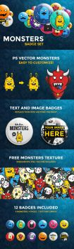 Monsters Badge Set by odindesign
