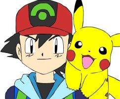 Ash and Pikachu by beebarb