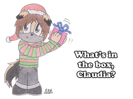 Claudia - What's in the box? (Art Trade) by Saxdude26