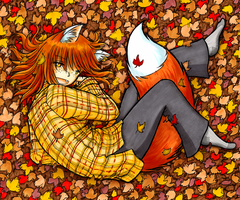 Warm Foxgirl Cuddling in Leaves by fredrin