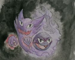 Gastly and Haunter by beverly546