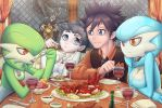 Dining with Gardevoirs by MisterPloxy