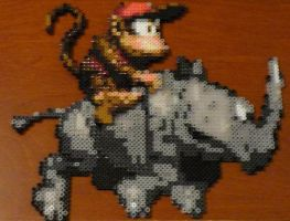 Diddy Kong and Rambi Bead Sprites by monochrome-GS