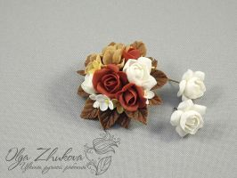 brooch and earrings by polyflowers