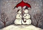 Snowmen Under Umbrella by Darkcloudsabout
