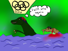 T-rex swimming in olympics... by Meme00