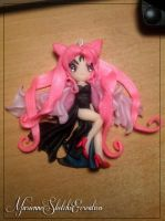 Black Lady Chibiusa Sailor Moon Pendant by DarkettinaMarienne