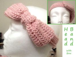Crocheted Head Band with Bow by MazokuCreations