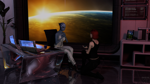 Liara and Jane: A special question for the broker by Grummel83