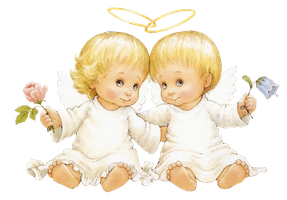 Two Baby Angels With Flowers Free Clipart by joeatta78