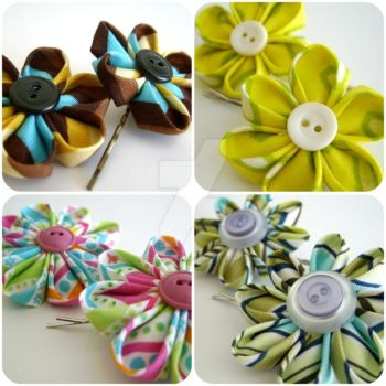 Kanzashi flowers bobby pins by MadelinesWardrobe