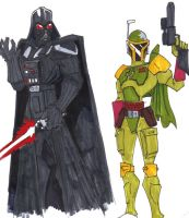 Animated Vader and Fett by StarWarsGURU
