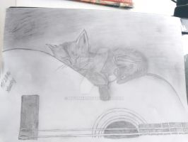 Pencil drawing - cat sleeping on guitar by xwomen