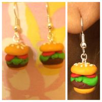 Polymer Clay Burger Earrings by chikki587