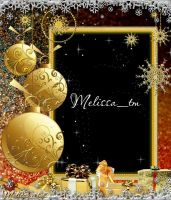 Photoframe - Golden X-mas Balls and Presents by Melissa-tm