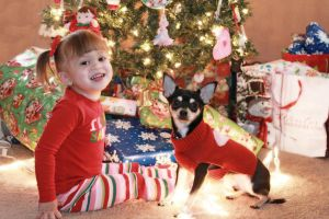 A Girl and Her Dog Waiting for Santa by HarleyQuinn2012