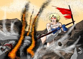Powergirl Vs Doomsday Round Three... by adamantis