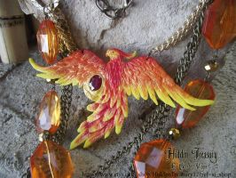 Phoenix Necklace OOAK by Hidden-Treasury