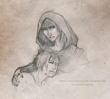 Raistlin and Caramon Majere by Tirass