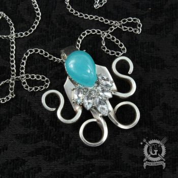 Turquoise Crystal Fork Pendant by Doctor-Gus