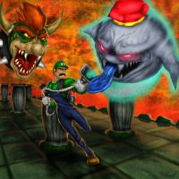 Luigi's Mansion Final Battle: King Boo and Bowser by Tycony23