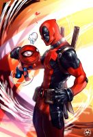 Deadpool and chibi Spidey by E-X-P-I-E