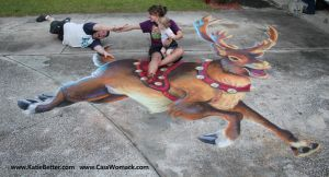 3D Chalked Christmas Reindeer 1 by charfade