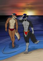 Wolf Dudes On The Beach by EJHusky