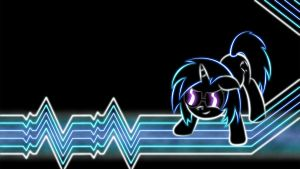 Vinyl Scratch Glow Wallpaper by SmockHobbes