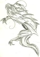Water dragon charcoal sketch by color-freak1