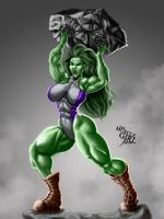SMASH! - She-Hulk | Commission by The-Muscle-Girl-Fan