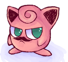 I DREW A JIGGLYPUFF WITH A MOUSTACHE by DaRainbowGurl
