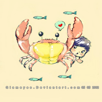 Me and my Pink Crab by Glameyes