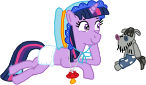 Twilight Sparkle in her diaper and Smarty Pants by Mighty355