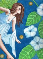 Moonflowers and The Peering Fairy by IsabelaRazo