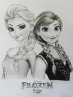 Elsa and Anna - Frozen by KrizzLumino
