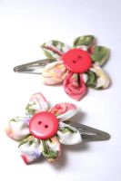 Flower hair clips by kokito85