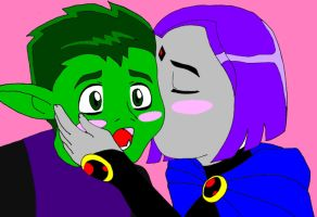 beast boy and raven cute kiss by TheGeckoNinja