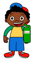 Quincy with a Toilet Duck bottle by dev-catscratch