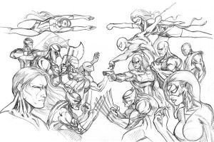 Avengers vs Dark Avengers by OngJ
