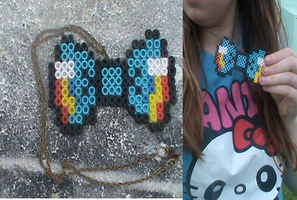 MLP-Perler Rainbow Dash Bow Necklace (For Sale) by KrazyKari