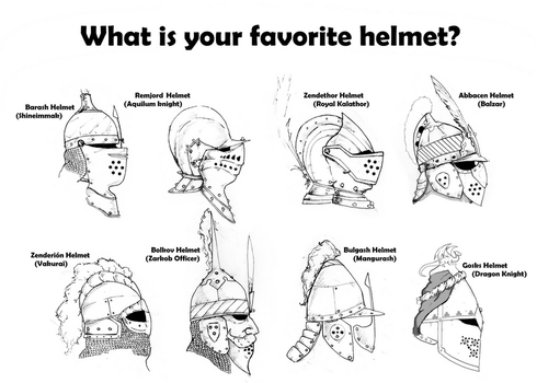 Helmets of the different cultures of my world. by VicSenpai