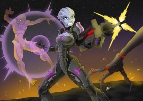 Commission: Asari Vanguard throw down by Blunt-Katana