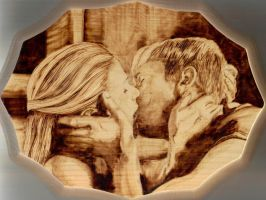 Eric and Sookie Pyrography by wickedtiger86