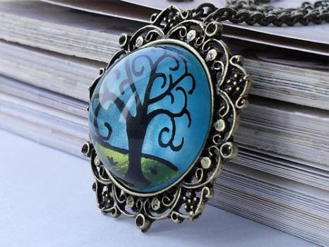 Black Tree necklace by janimie