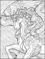 Star Wave Unicorn 02 BW by rachaelm5