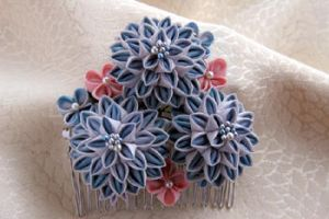 Blue flower hair comb by haru-mai