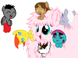 Foals playing with Fluffle Puff's fur by Imborednstuff